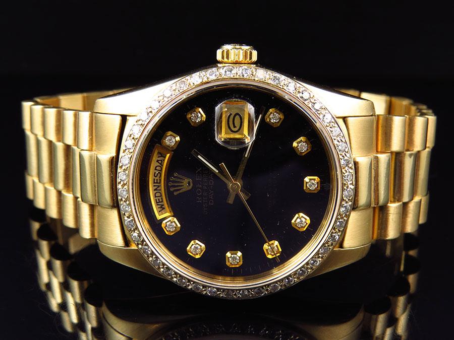 Details About 18k Yellow Gold Mens 36 Mm Rolex President Day Date 18038 Diamond Bezel Watch