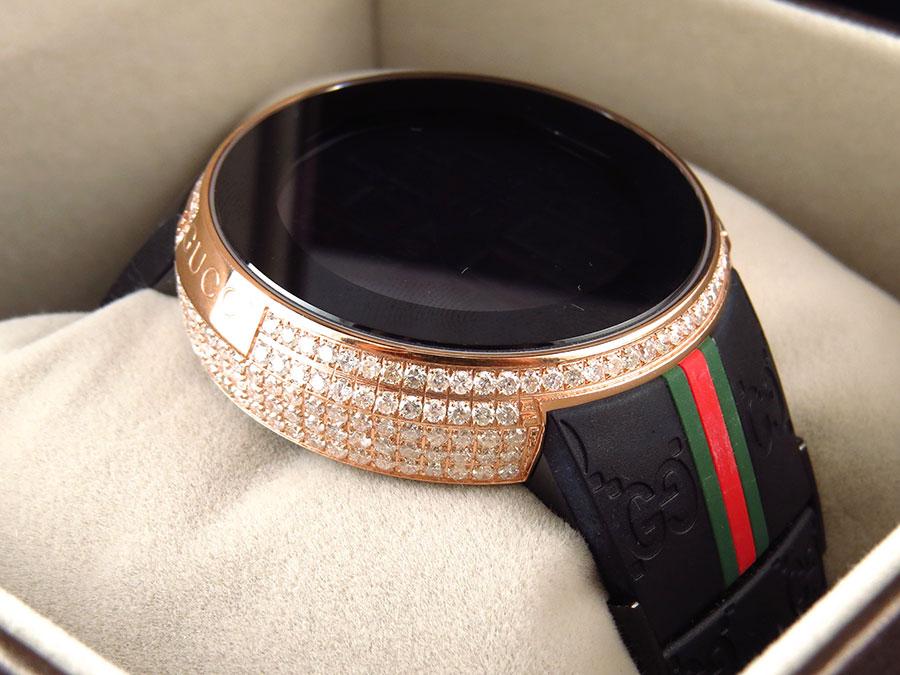 12cc2e123569b Custom New Mens I Gucci Digital Rose Case Full Diamond Watch 6.5 Ct YA114207