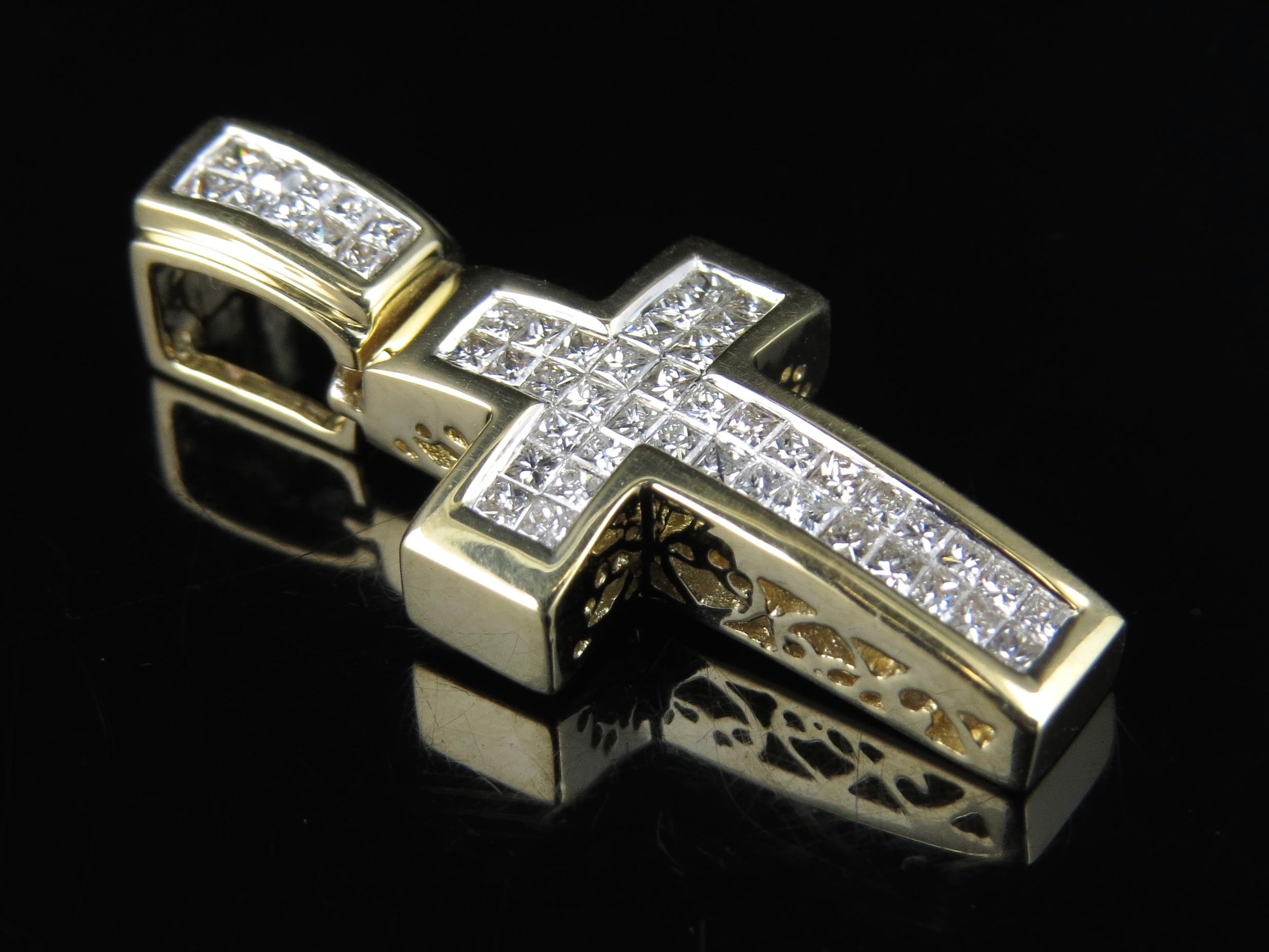 mens ladies 14k yellow gold genuine princess diamond cross. Black Bedroom Furniture Sets. Home Design Ideas