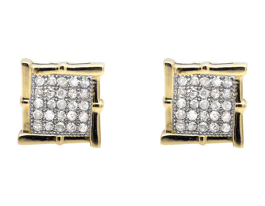 4ddf41cd4 10K Yellow Gold Square Kite Vintage Wood-like Frame Diamond Stud Earring  1/4ct.