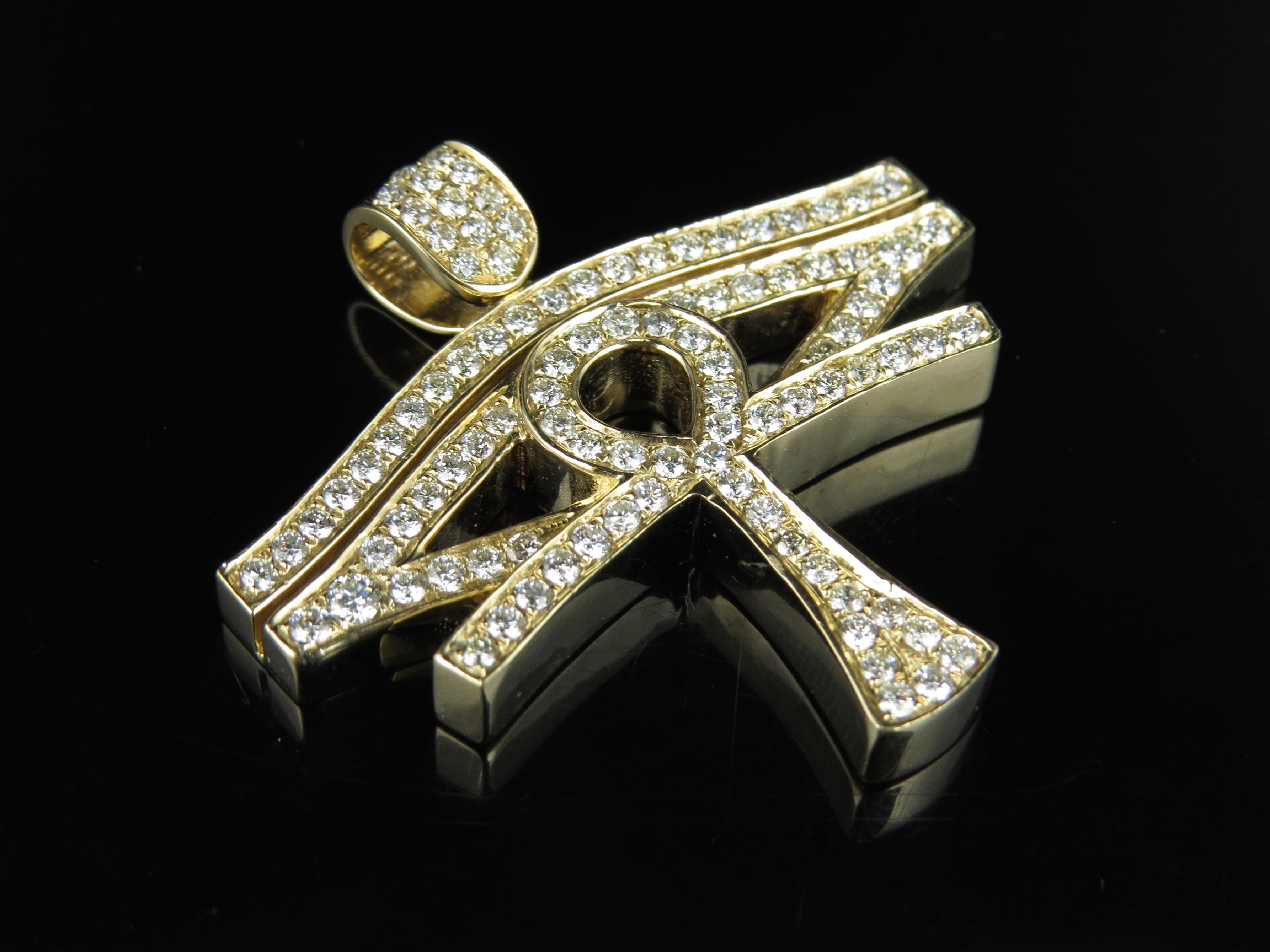 Men s 14K Yellow Gold Real Diamond Horus Evil Eye Ankh Cross