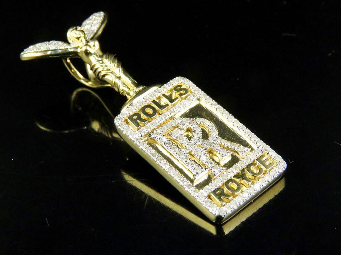 10k Yellow Gold Genuine Diamond Custom Rolls Royce Logo Pendant Charm 1 Ct 1 5 605963294390 Ebay