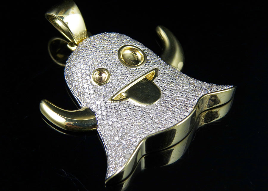 10k yellow gold iced out snapchat ghost emoji genuine diamond custom 10k yellow gold iced out snapchat ghost emoji genuine diamond custom pendant 2ct aloadofball Gallery