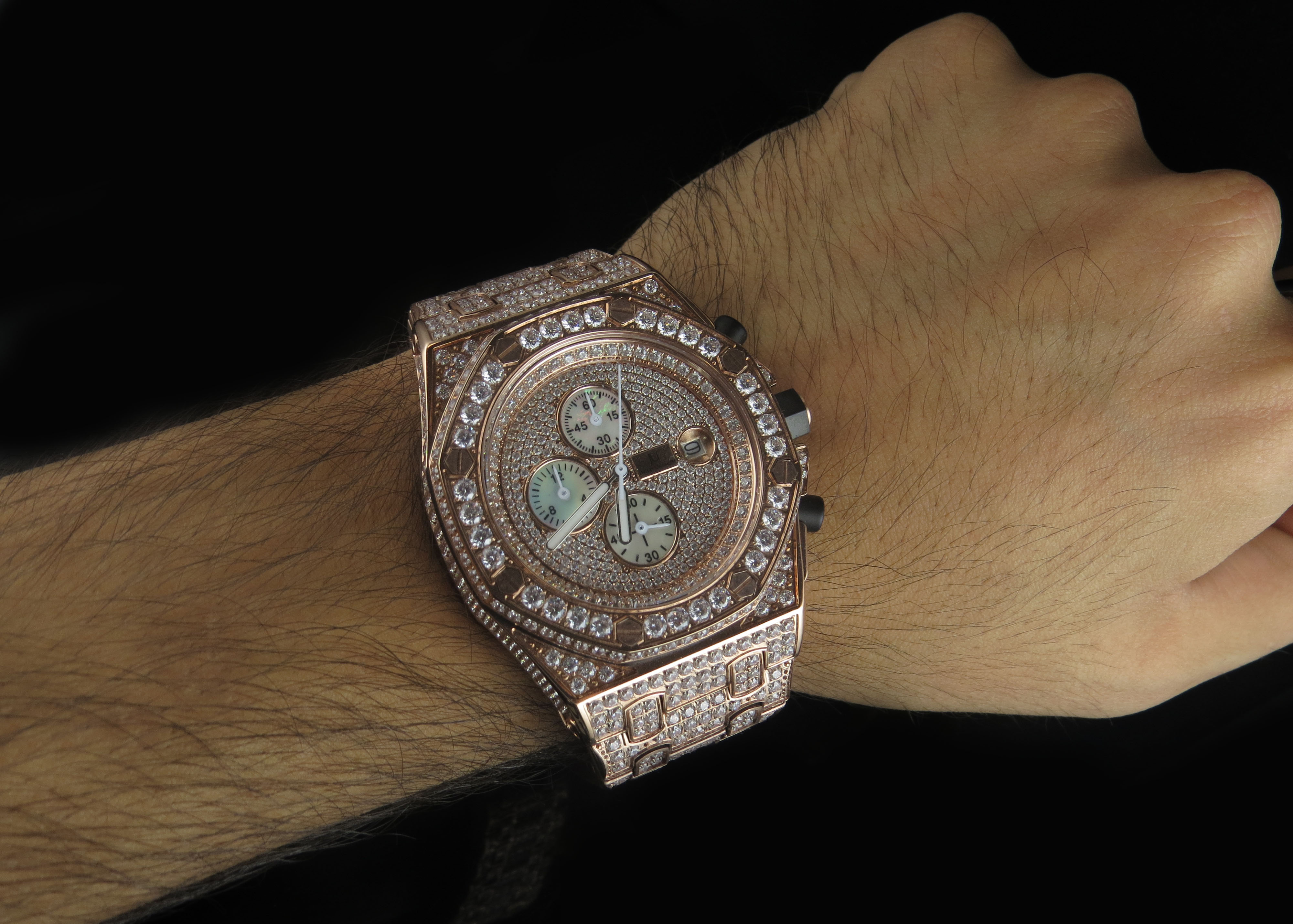 Mens Jewelry Unlimited Rose Gold Steel Simulated Diamond Wrist Watch