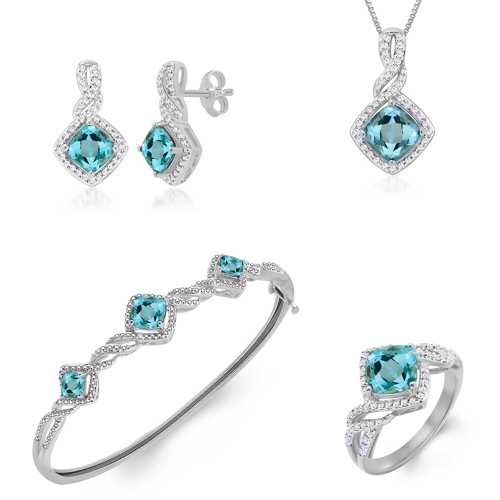 3.50ct Lab Topaz Diamonds White Gold Plated Ring Necklace Bracelet Earrings Set